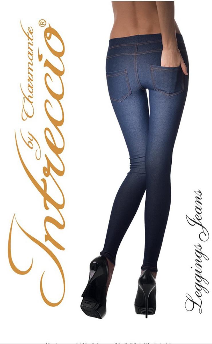 Леггинсы женские Charmante Leggins Jeans, цвет: синий, оранжевый. Размер S/M (42/44)LEGGINS JEANSЖенские хлопковые леггинсы, имитирующие брюки, с функциональными накладными задними карманами. Леггинсы исполнены в модном джинсовом стиле. Удобный брючный пояс со втачной резинкой. Плоские швы.