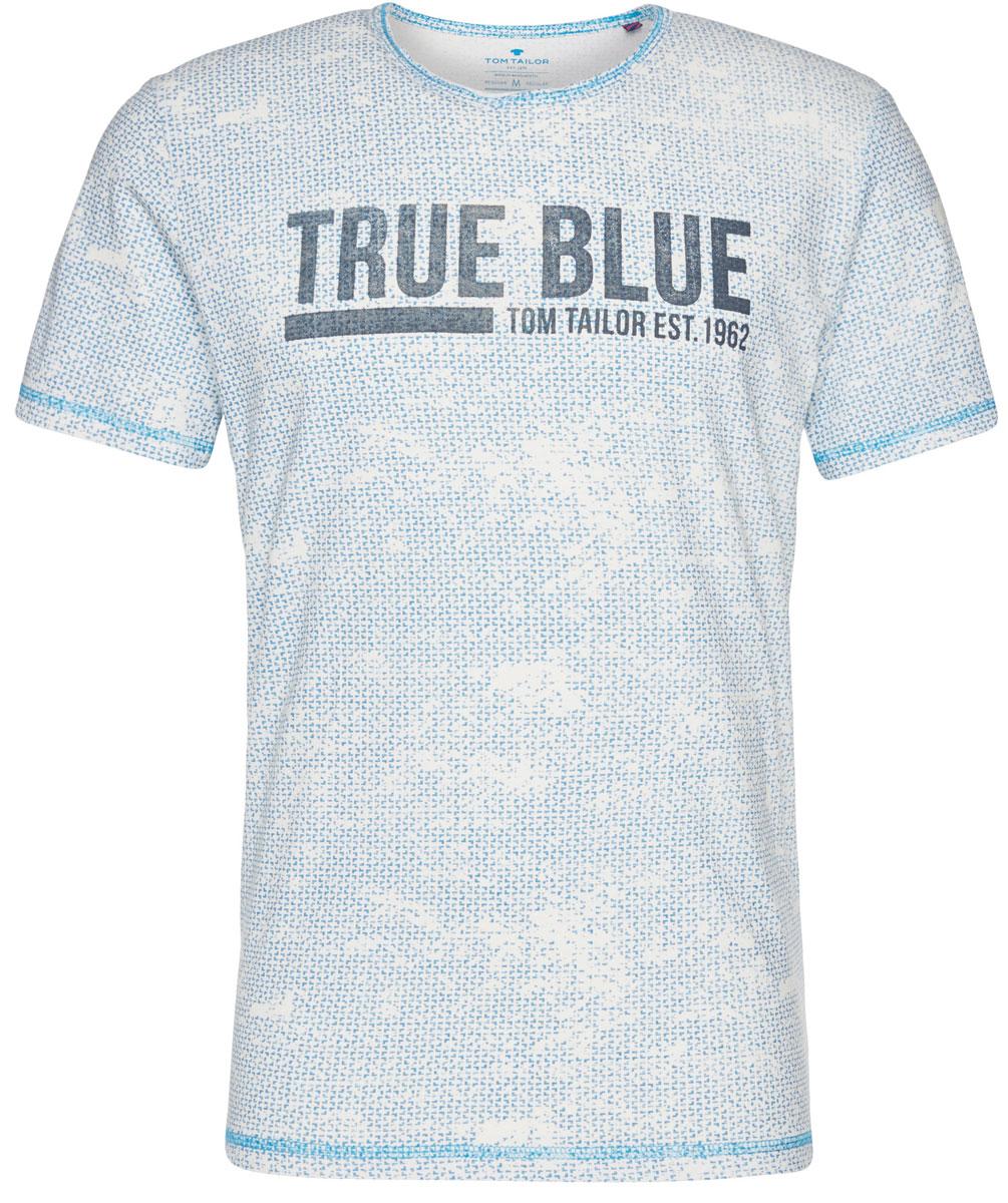 Футболка мужская Tom Tailor, цвет: белый, голубой. 1037527.62.10_6723. Размер L (50)1037527.62.10_6723Мужская футболка Tom Tailor выполнена из натурального хлопка. Модель с круглым вырезом горловины и короткими рукавами.Такая футболка станет стильным дополнением к вашему гардеробу, она подарит вам комфорт в течение всего дня!