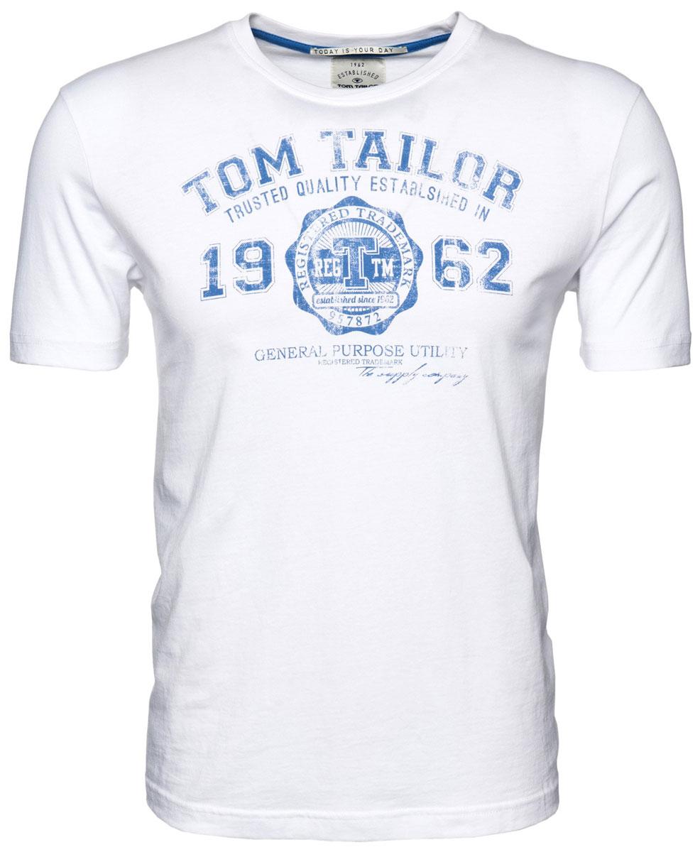 Футболка мужская Tom Tailor, цвет: белый. 1023549.09.10_2000. Размер XL (52)1023549.09.10_2000Мужская футболка Tom Tailor выполнена из натурального хлопка. Модель с круглым вырезом горловины и короткими рукавами оформлена принтовой надписью.Такая футболка станет стильным дополнением к вашему гардеробу, она подарит вам комфорт в течение всего дня!