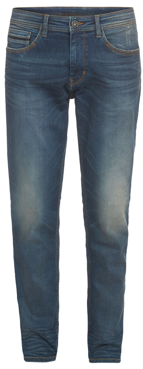 Джинсы мужские Tom Tailor, цвет: синий. 6205584.62.10_1195. Размер 34-32 (50-32)6205584.62.10_1195Стильные мужские джинсы Tom Tailor - джинсы высочайшего качества, которые прекрасно сидят. Модель-слим средней посадки изготовлена из высококачественного материала не сковывает движения и дарит комфорт.Джинсы на талии застегиваются на металлическую пуговицу и ширинку на молнии, а также имеют в поясе шлевки для ремня. Спереди модель дополнена двумя втачными карманами и одним накладным маленьким кармашком, а сзади - двумя большими накладными карманами. Изделие оформленоперманентными складками. Эти модные и в тоже время удобные джинсы помогут вам создать оригинальный современный образ.