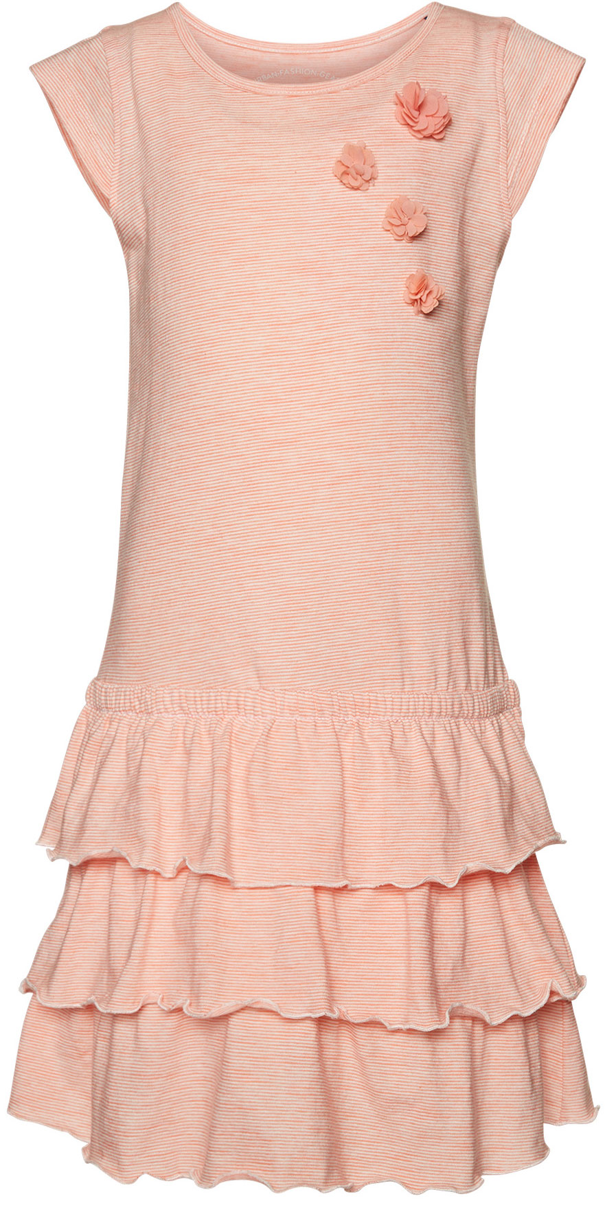 Платье для девочки Tom Tailor, цвет: оранжевый, белый. 5019623.00.81_3335. Размер 116/1225019623.00.81_3335Яркое платье для девочки Tom Tailor выполнено из качественного хлопка. Модель трапециевидного кроя с круглым вырезом горловины, короткими рукавами-крылышками и юбкой-воланом оформлена принтом в полоску и украшена аппликацией в виде объемных цветочков.