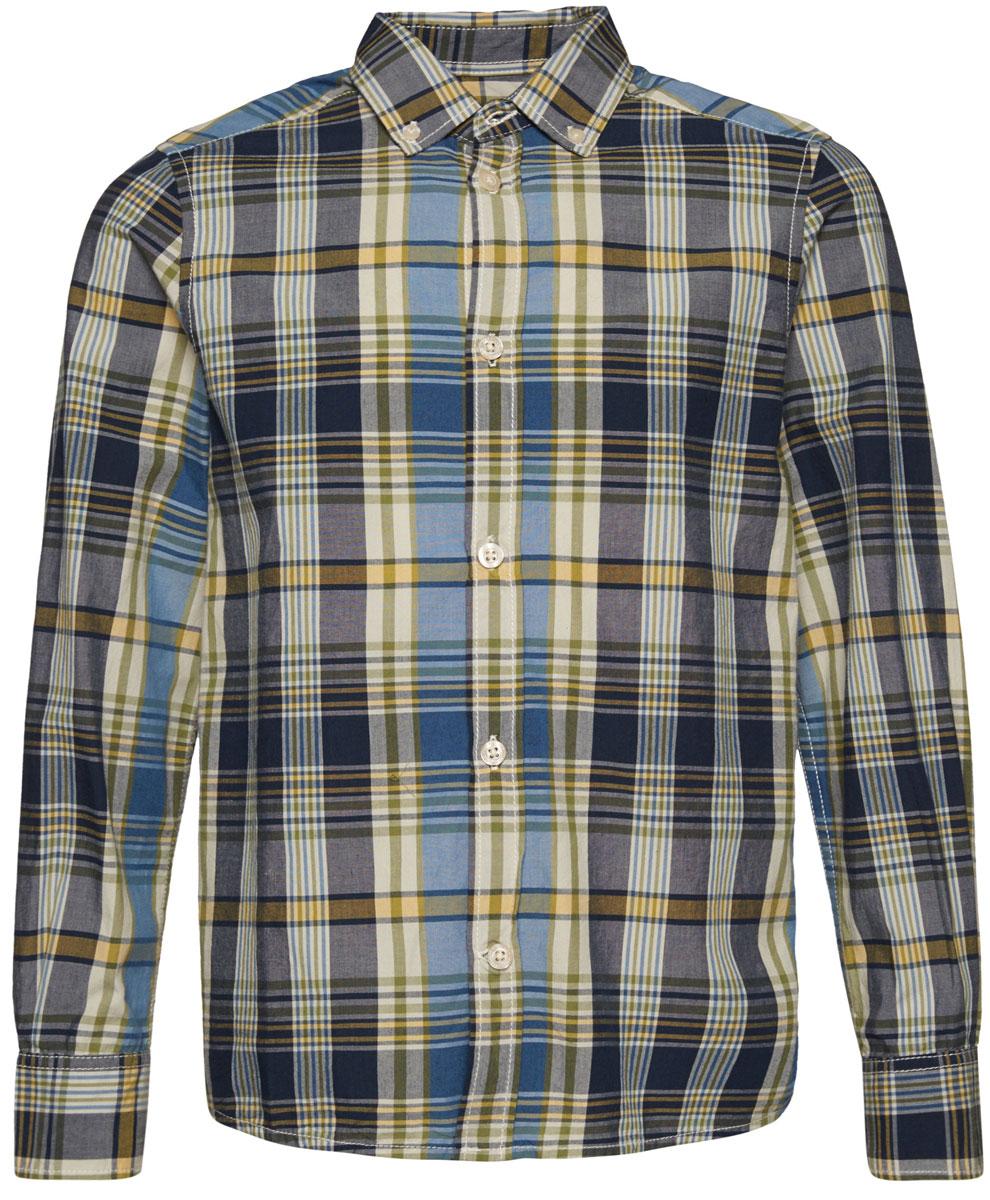 Рубашка для мальчика Tom Tailor, цвет: синий, желтый, белый. 2033016.00.30_6975. Размер 1402033016.00.30_6975Рубашка для мальчика Tom Tailor изготовлена из натурального хлопка. Модель с длинными рукавами и отложным воротником застегивается спереди на пластиковые пуговицы по всей длине. Оформлено изделие принтом в клетку.