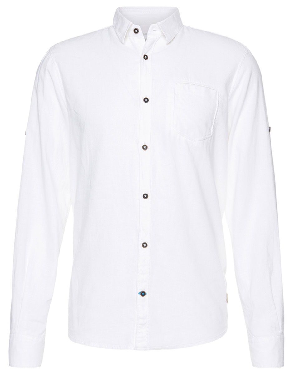 Рубашка мужская Tom Tailor, цвет: белый. 2033129.00.10_2000. Размер L (50)2033129.00.10_2000Мужская рубашка Tom Tailor поможет создать отличный современный образ. Модель изготовлена из высококачественного материала. Рубашка с отложным воротником и длинными рукавами застегивается по всей длине на пуговицы. Манжеты рукавов оснащены застежками-пуговицами. На груди предусмотрен накладной карман. Такая рубашка станет стильным дополнением к вашему гардеробу, она подарит вам комфорт в течение всего дня!