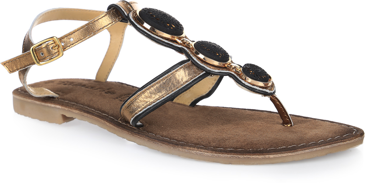 Сандалии женские Tamaris, цвет: золотой. 1-1-28115-28-971/225. Размер 391-1-28115-28-971/225Стильные женские сандалии полностью выполнены из натуральной кожи. Модель застегивается на ремешок с металлической пряжкой. Стелька выполнена из мягкой натуральной кожи обеспечит комфорт ногам. Подошва оснащена рифлением.