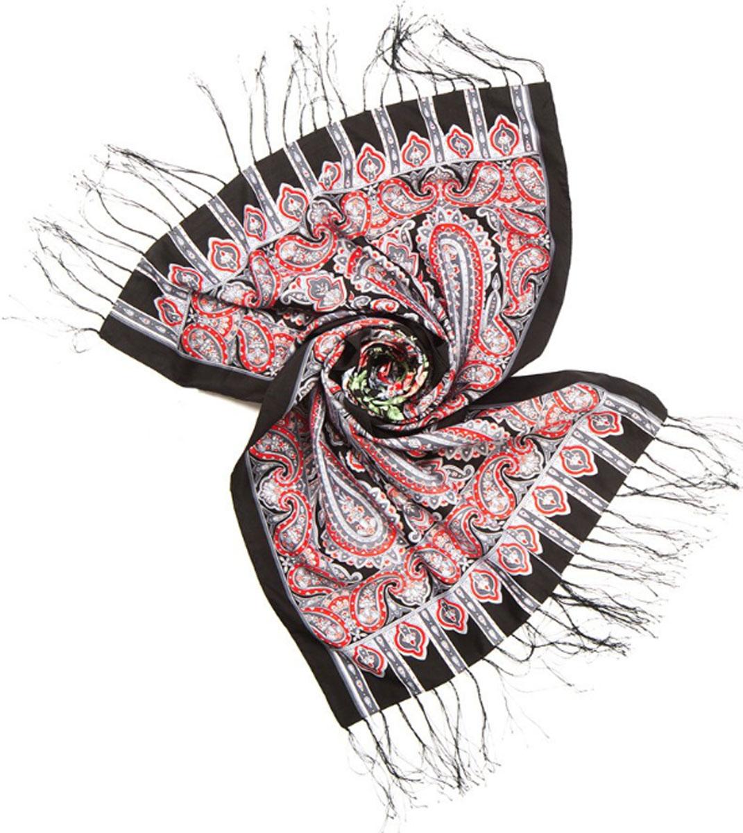 Шарф женский Charmante, цвет: черный. SCVIST351. Размер 160 см х 65 смSCVIST351Необычайно мягкий и приятный на ощупь шарф из высококачественного материала, украшенный цветочным принтом, восточным узором пейсли и орнаментом. Края подшиты и по ширине декорированы шелковыми кисточками.