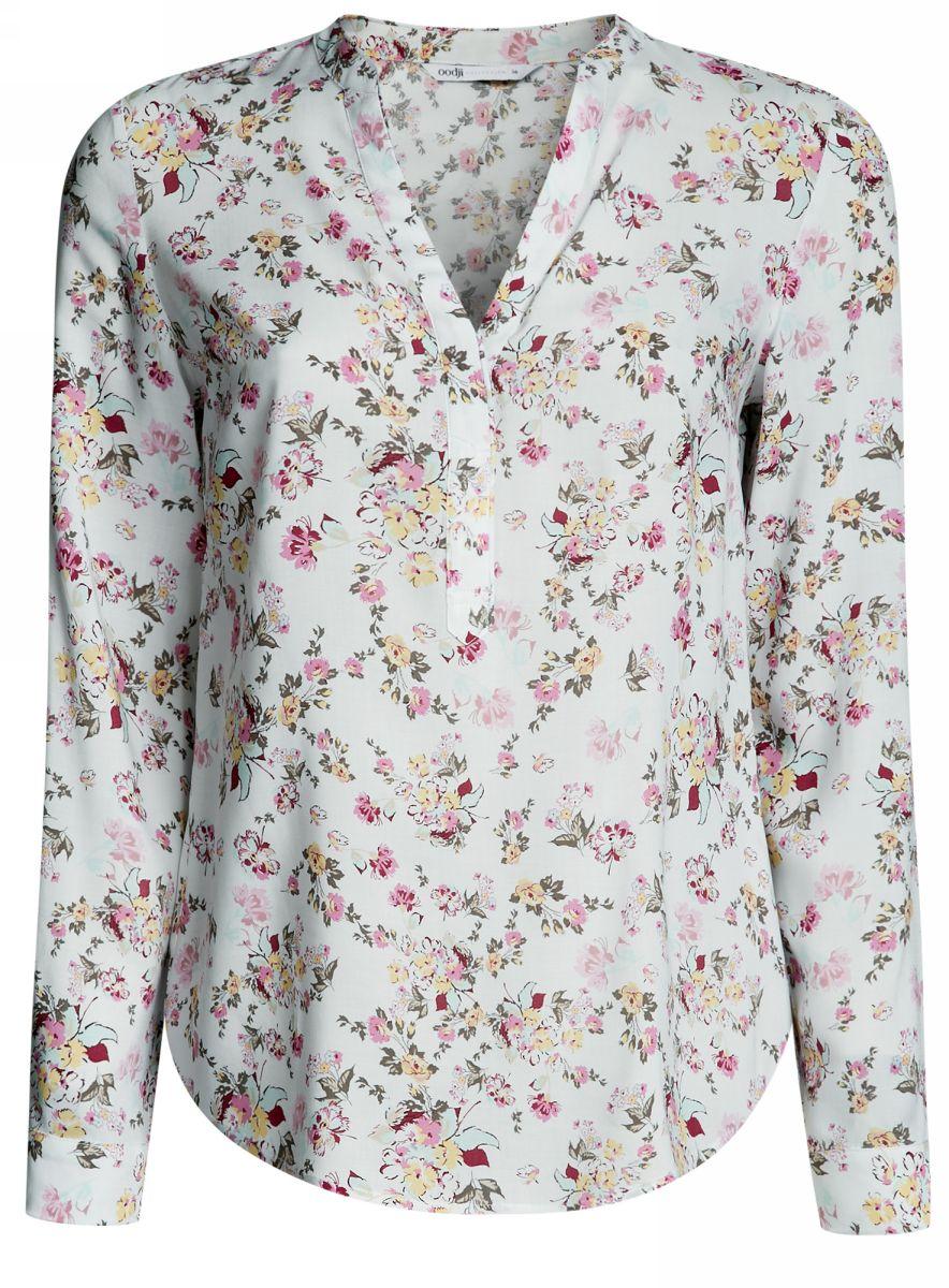 Блузка женская oodji Collection, цвет: белый, розовый. 21400394-1M/24681/1241F. Размер 42-170 (48-170)21400394-1M/24681/1241FЖенская блузка oodji Collection выполнена из вискозы и оформлена цветочным принтом. Модель с V-образным вырезом горловины и длинными стандартными рукавами, дополненными хлястиком с пуговицей, при помощи чего регулируется длина рукава. В области груди имеются вытачки. Спереди изделие застегивается на пуговицы.