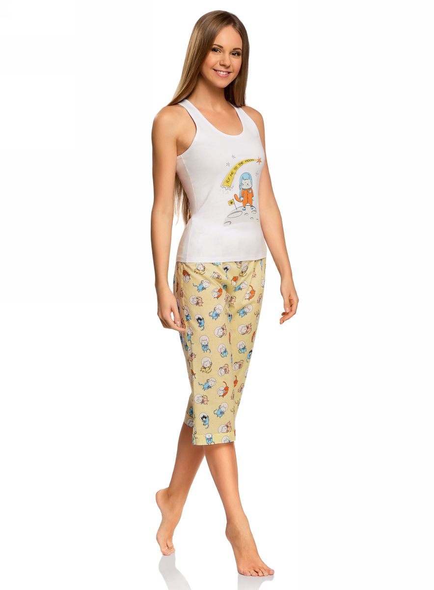 Пижама женская oodji Ultra, цвет: белый. 56001076-2/43112/1050P. Размер S (44)56001076-2/43112/1050PЖенская пижама от oodji, состоящая из майки и бридж, выполнена из натурального хлопка. Майка спереди оформлена принтом, бриджи стандартной посадки – из принтованной ткани.