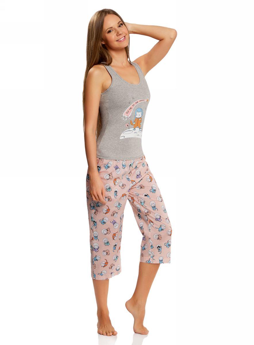 Пижама женская oodji Ultra, цвет: серый. 56001076-3/43112/2040P. Размер M (46)56001076-3/43112/2040PЖенская пижама от oodji, состоящая из майки и бридж, выполнена из натурального хлопка. Майка спереди оформлена принтом, бриджи стандартной посадки – из принтованной ткани.