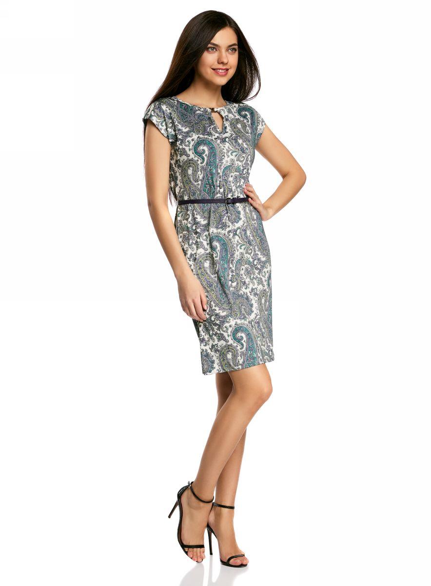 Платье oodji Collection, цвет: белый, серый, голубой. 24008033-2/16300/126AE. Размер XS (42-170)24008033-2/16300/126AEПлатье oodji Collection, выгодно подчеркивающее достоинства фигуры, выполнено из качественного трикотажа с оригинальным узором. Модель средней длины с круглым вырезом горловины и короткимирукавами оформлена вырезом-капелькой с декоративным элементом на груди.В комплект с платьемвходит узкий ремень из искусственной кожи с металлической пряжкой.