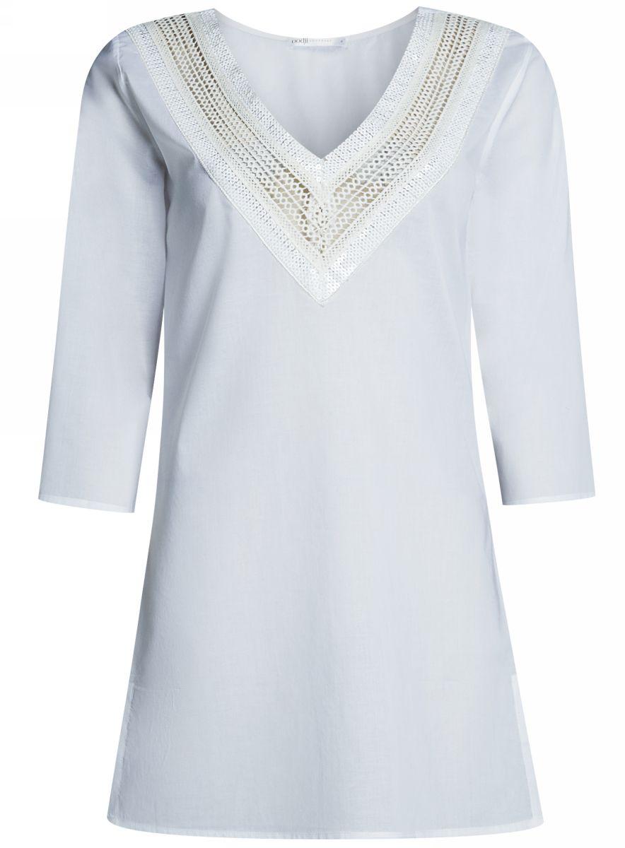 Платье домашнее oodji Collection, цвет: белый. 59801016/46575/1000N. Размер XS (42-170)59801016/46575/1000NДомашнее платье А-силуэтаoodji Collectionвыполнено из натурального хлопка. Модель мини-длины с рукавами 3/4 имеет V-образный вырез горловины, оформленный ажурным плетением и пайетками. Платье также отлично подходит для использования в качестве пляжной туники.