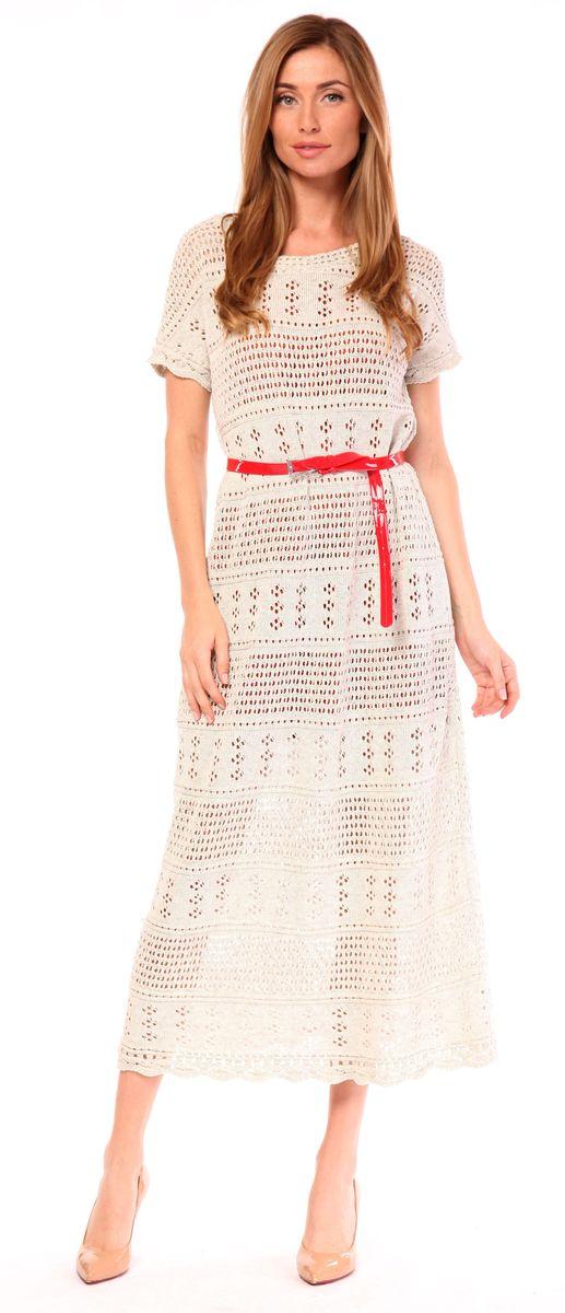 Платье Pettli Collection, цвет: льняной. w290. Размер 48w290Вязаное платье Pettli Collection изготовлено из хлопка с добавлением ПАН. Модель длины макси имеет короткие широкие рукава и круглый вырез горловины. В комплекте - удлиненная майка телесного цвета, которая используется в качестве подкладки.
