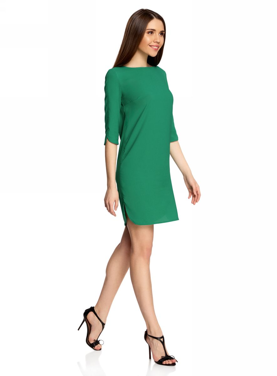 Платье oodji Collection, цвет: зеленый. 21900322B/42913/6D00N. Размер 42-164 (48-164)21900322B/42913/6D00NЛаконичное платье oodji Collection прямого силуэта выполнено из качественной ткани. Модельсредней длины с вырезом лодочкой и рукавами 3/4 оформлена вырезом-капелькой на спине.