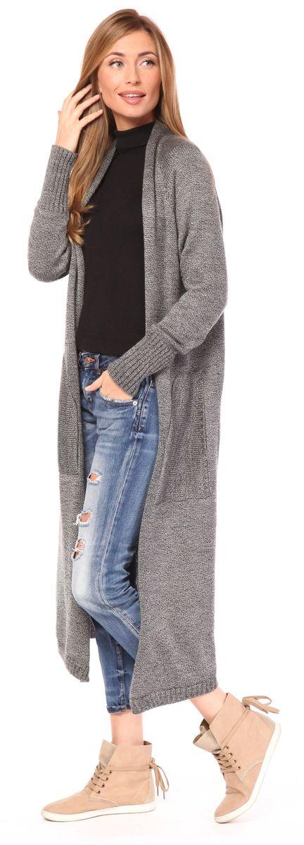 Кардиган женский Pettli Collection, цвет: серый. 1404. Размер 501404Женский кардиган Pettli Collection изготовлен из шерсти и акрила. Модель длины макси без застежки имеет длинные рукава с эластичными манжетами. Такой кардиган отлично дополнит любой ваш образ.