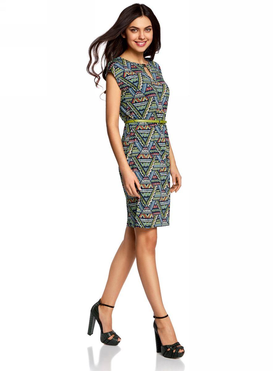 Платье oodji Collection, цвет: синий, зеленый. 24008033-2/16300/796BG. Размер XS (42-170)24008033-2/16300/796BGПлатье oodji Collection, выгодно подчеркивающее достоинства фигуры, выполнено из качественного трикотажа с оригинальным узором. Модель средней длины с круглым вырезом горловины и короткимирукавами оформлена вырезом-капелькой с декоративным элементом на груди.В комплект с платьемвходит узкий ремень из искусственной кожи с металлической пряжкой.