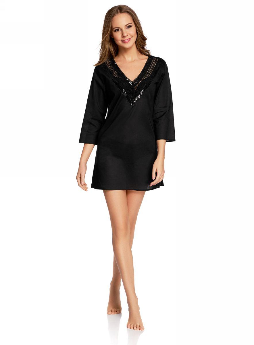 Платье домашнее oodji Collection, цвет: черный. 59801016/46575/2900N. Размер M (46-170)59801016/46575/2900NДомашнее платье А-силуэтаoodji Collectionвыполнено из натурального хлопка. Модель мини-длины с рукавами 3/4 имеет V-образный вырез горловины, оформленный ажурным плетением и пайетками. Платье также отлично подходит для использования в качестве пляжной туники.