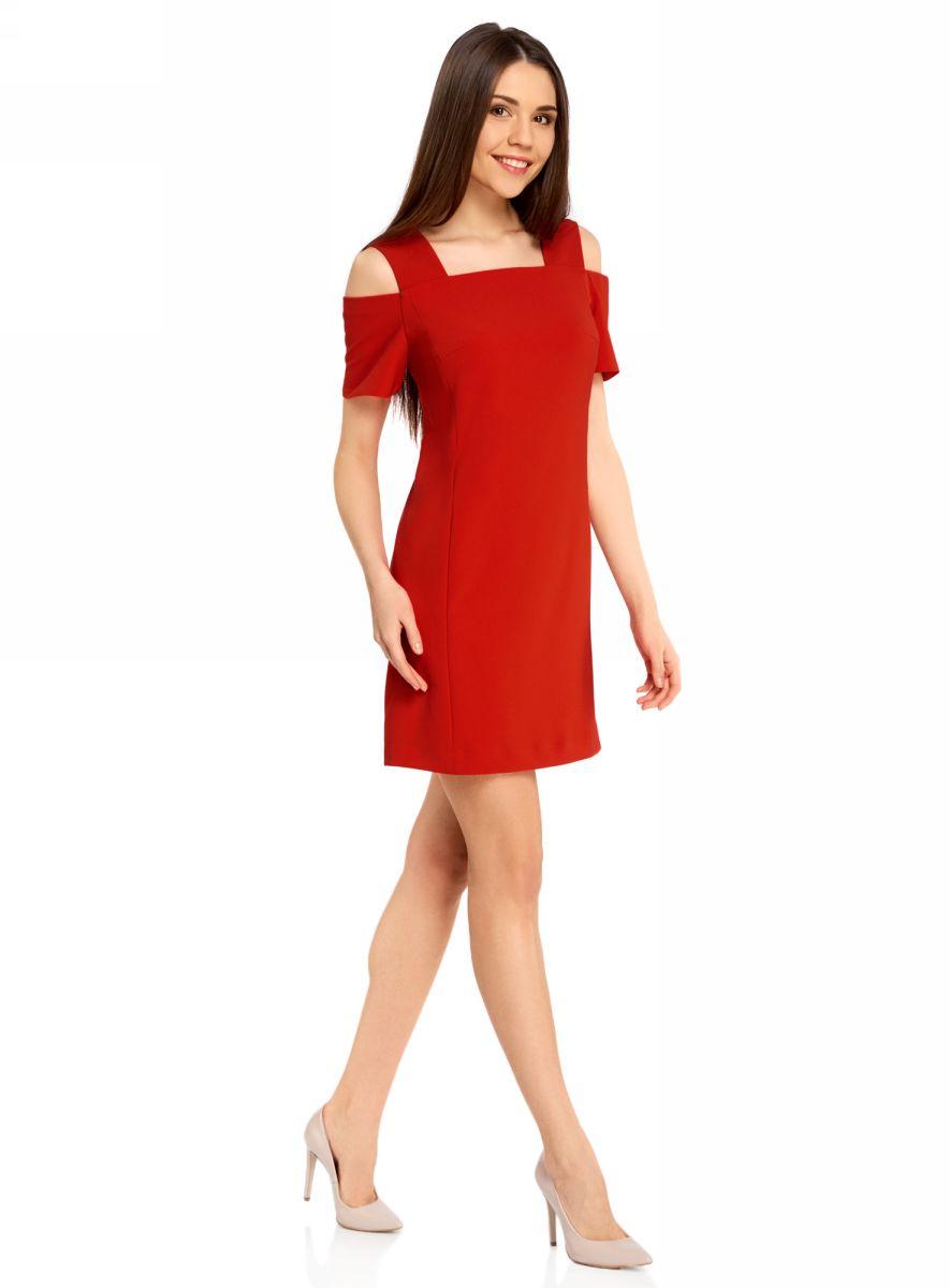 Платье oodji Ultra, цвет: красный. 11900228/42314/4500N. Размер 38-170 (44-170)11900228/42314/4500NОригинальное платье oodji Ultra выполнено из качественного эластичного материала. Приталенная модель мини-длины с открытыми плечами застегивается на скрытую молнию на спинке.