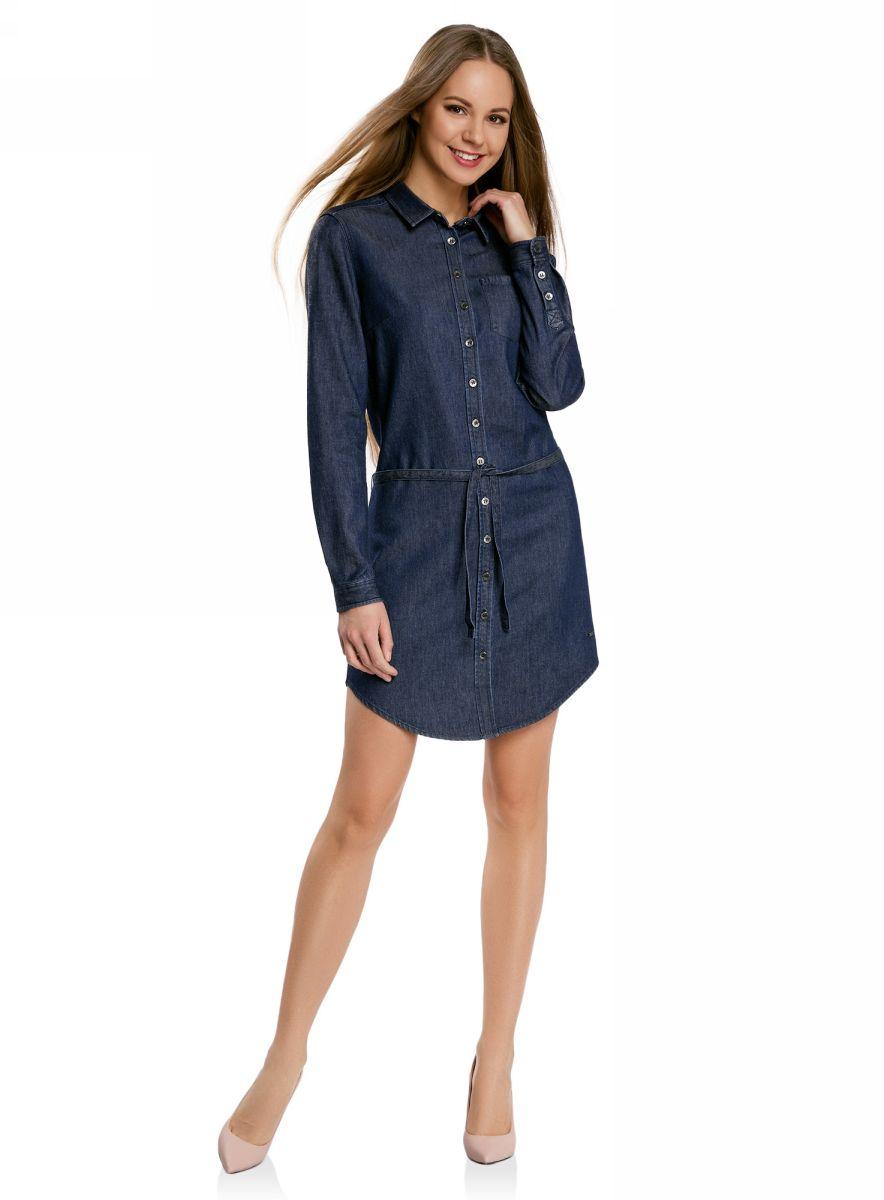 Платье oodji Ultra, цвет: синий. 12909044/45251/7900W. Размер 40-170 (46-170)12909044/45251/7900WДжинсовое платье oodji Ultra с закругленным низом - стильное и модное решение на каждый день. Модель средней длины с длинными рукавами и отложным воротничком спереди застегивается на металлические пуговицы по всей длине. На груди изделие дополнено накладным карманом. Рукава также застегиваются на пуговицы. В комплект с платьем входит джинсовый пояс.