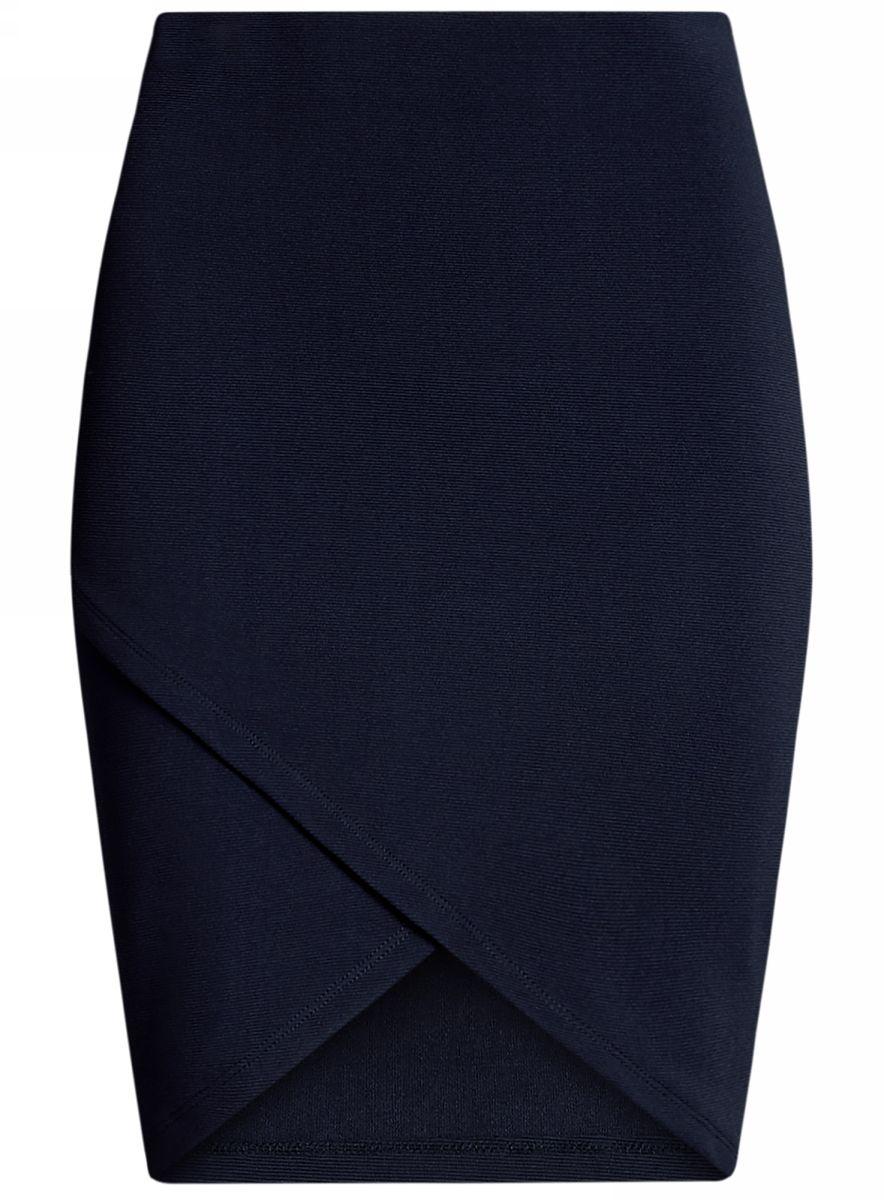 Юбка oodji Ultra, цвет: темно-синий. 14101081-1/46935/7900N. Размер XL (50)14101081-1/46935/7900NСтильная юбка с асимметричным низом выполнена из высококачественного трикотажа. Модель мини-длины с поясом на мягкой эластичной резинке выгодно подчеркнет достоинства фигуры.