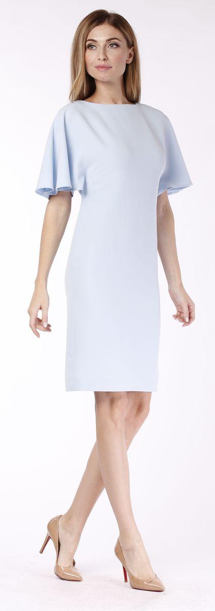 Платье Milanika, цвет: голубой. 21710. Размер 4821710Платье от Milanika выполнено из качественного полиэстера с добавлением эластана. Платье-миди с круглым вырезом горловины и короткими рукавами клеш, застегивается сзади по спинке на потайную молнию.
