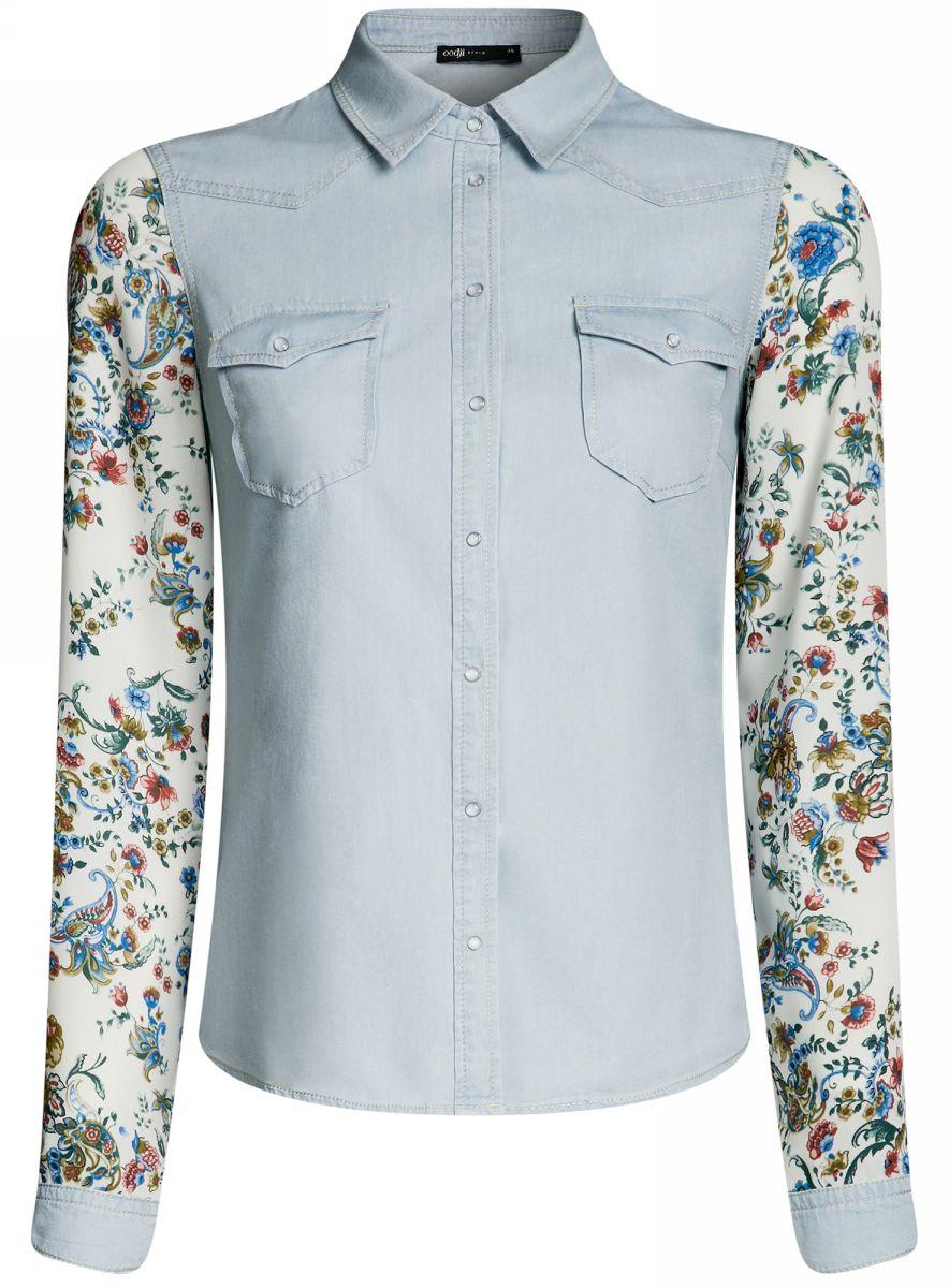 Рубашка женская oodji Ultra, цвет: голубой. 16A09001-2/42706/7000W. Размер 42-170 (48-170)16A09001-2/42706/7000WСтильная джинсовая рубашка oodji Ultra выполнена из качественного комбинированного материала. Модель приталенного кроя с отложным воротничком и длинными рукавами застегивается на кнопки по всей длине и дополнена двумя накладными карманами с клапанами на кнопках. Рукава, оформленные цветочным принтом, дополнены джинсовыми манжетами с кнопками. Рубашка отлично подойдет для прогулок и дружеских встреч и будет отлично сочетаться с джинсами и брюками. Мягкая ткань на основе хлопка приятна на ощупь и комфортна в носке.