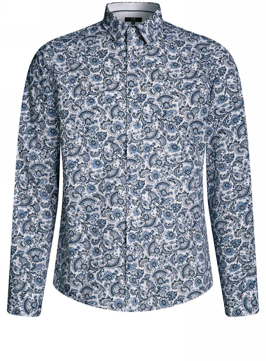 Рубашка мужская oodji Lab, цвет: белый, синий. 3L110259M/19370N/1075E. Размер 44-182 (56-182)3L110259M/19370N/1075EМужская рубашка от oodji выполнена из натурального хлопка. Модель с длинными рукавами застегивается на пуговицы.