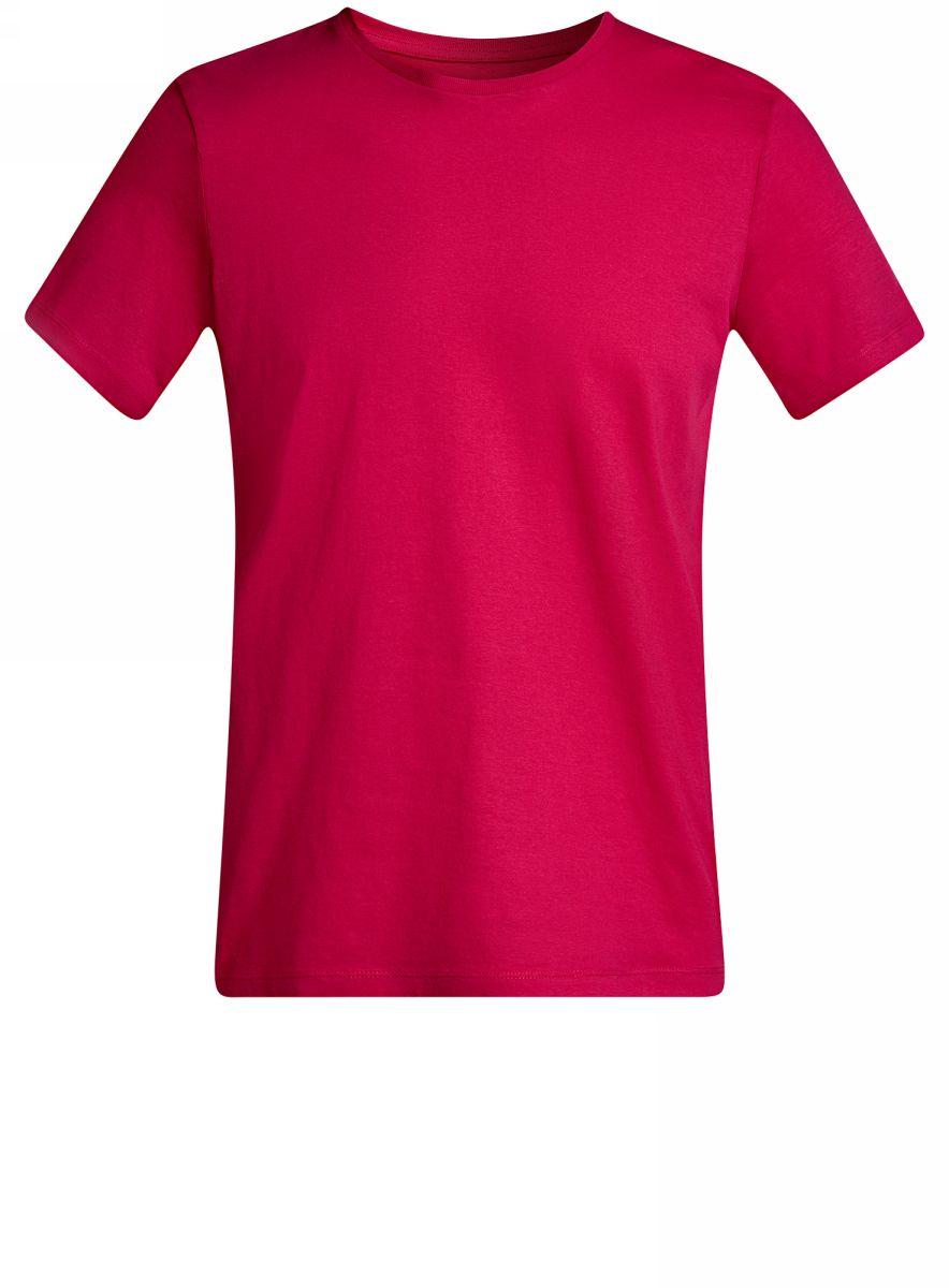 Футболка мужская oodji Basic, цвет: розовый. 5B611003M/44135N/4700N. Размер M (50)5B611003M/44135N/4700NКомфортная мужская футболка от oodji с короткими рукавами и круглым вырезом горловины выполнена из натурального хлопка.