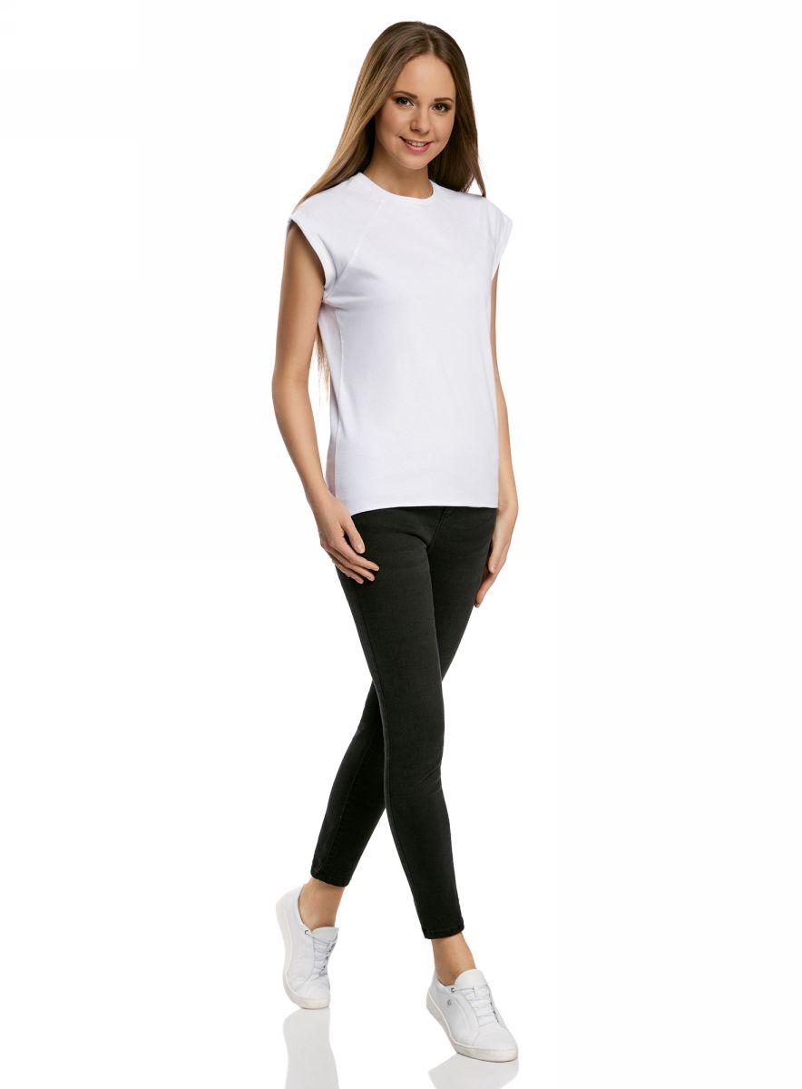 Футболка женская oodji Ultra, цвет: белый. 14707001B/46154/1000N. Размер S (44)14707001B/46154/1000NБазовая футболка свободного кроя с круглым вырезом горловины и короткими рукавами-реглан выполнена из натурального хлопка.