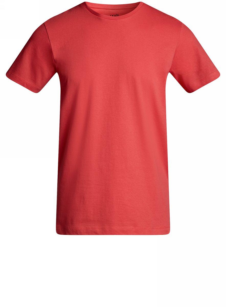Футболка мужская oodji Basic, цвет: красный. 5B611003M/44135N/4300N. Размер L (52/54)5B611003M/44135N/4300NКомфортная мужская футболка от oodji с короткими рукавами и круглым вырезом горловины выполнена из натурального хлопка.
