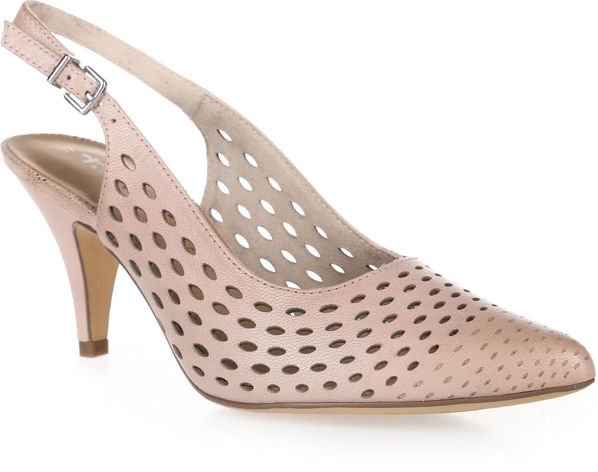 Туфли женские Tamaris, цвет: светло-розовый. 1-1-29606-28-521/201. Размер 371-1-29606-28-521/201Стильные женские туфли выполнены из натуральной кожи и оснащены устойчивым каблуком. Модель застегивается на ремешок с металлической пряжкой. Внутренняя поверхность и стелька из текстиля и искусственной кожи обеспечат комфорт при движении. Подошва оснащена рифлением.