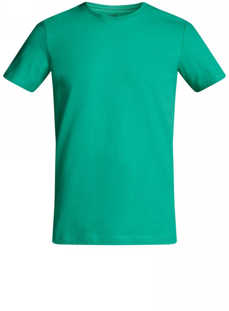 Футболка мужская oodji Basic, цвет: зеленый. 5B611003M/44135N/6500N. Размер M (50)5B611003M/44135N/6500NКомфортная мужская футболка от oodji с короткими рукавами и круглым вырезом горловины выполнена из натурального хлопка.