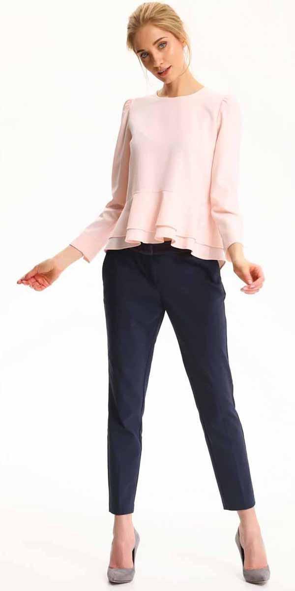 Блузка женская Top Secret, цвет: светло-розовый. SBD0695JR. Размер 34 (42)SBD0695JRБлузка женская Top Secret выполнена из полиэстера. Модель с круглым вырезом горловины и длинными рукавами.