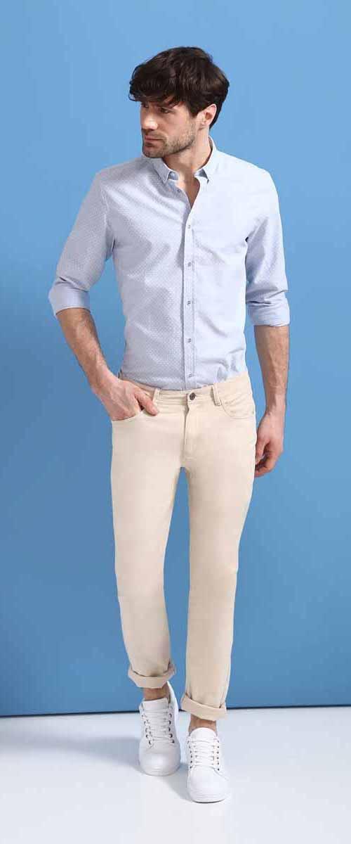 Рубашка мужская Top Secret, цвет: голубой. SKL2326BL. Размер 38/39 (46)SKL2326BLРубашка мужская Top Secret выполнена из 100% хлопка. Модель с отложным воротником и длинными рукавами застегивается на пуговицы.