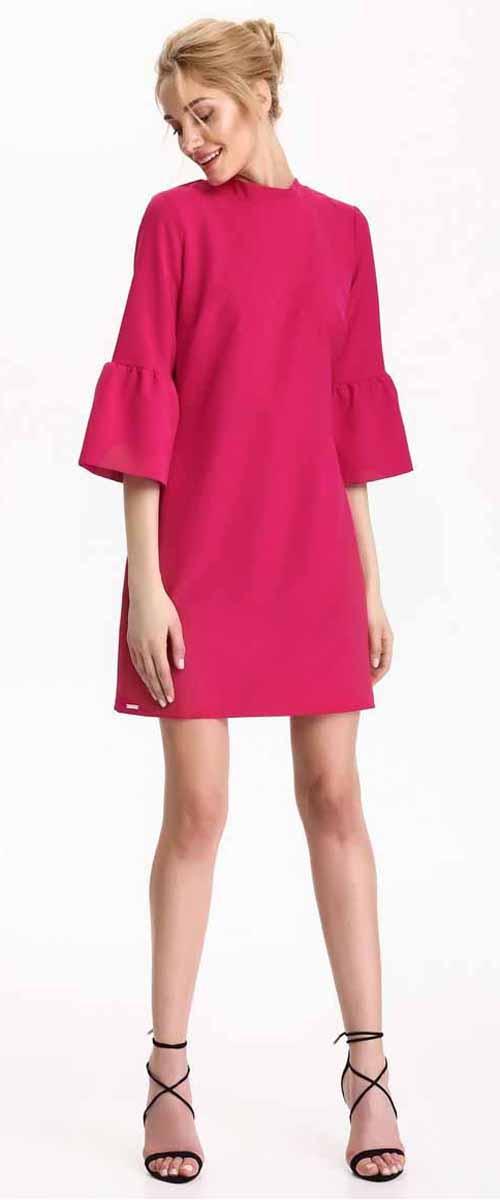 Платье Top Secret, цвет: темно-розовый. SSU1871CR. Размер 42 (50)SSU1871CRПлатье Top Secret выполнено из полиэстера. Модель с круглым вырезом горловины и рукавами 3/4.