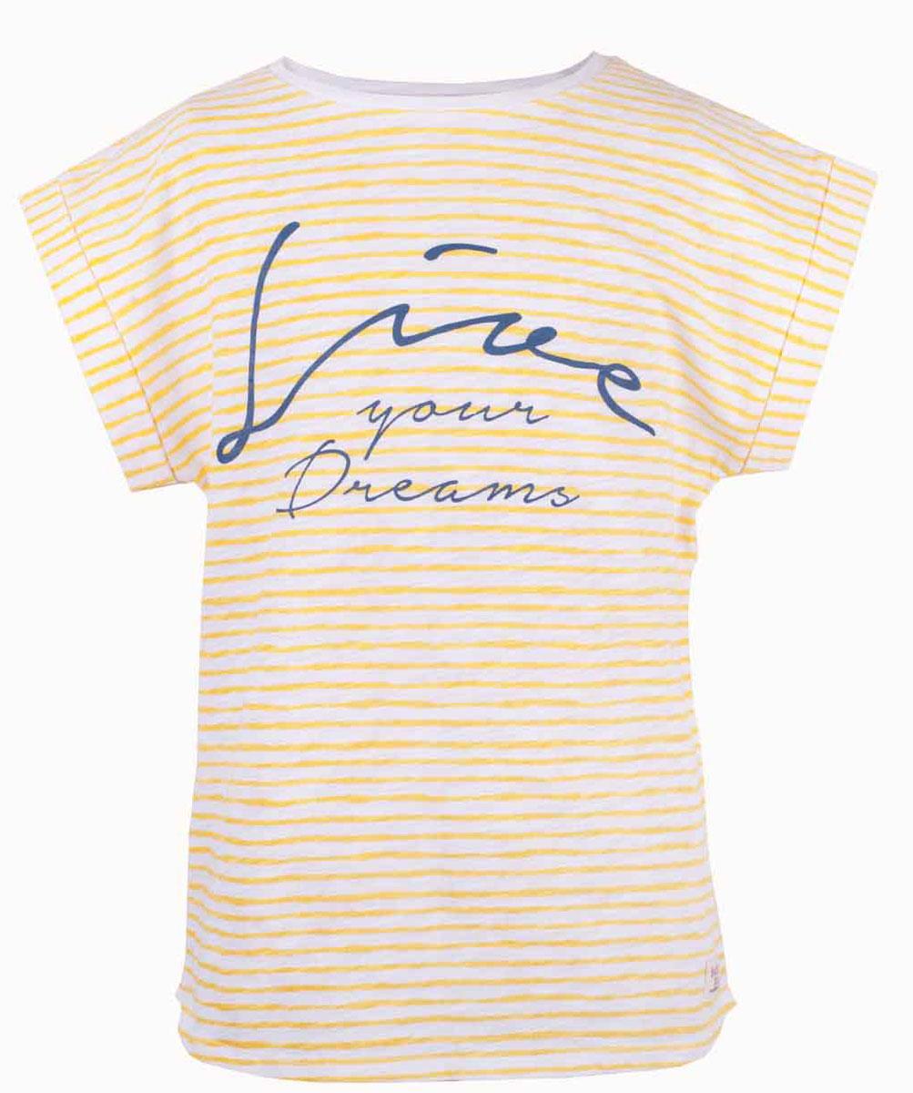 Футболка для девочки Button Blue Main, цвет: желтый. 117BBGC12022705. Размер 146, 11 лет117BBGC12022705Полосатая футболка - не только базовая вещь в гардеробе ребенка, но и залог хорошего летнего настроения. Если вы решили купить футболку для девочки, выберете модель футболки в полоску с оригинальным принтом, и ваш ребенок будет доволен.