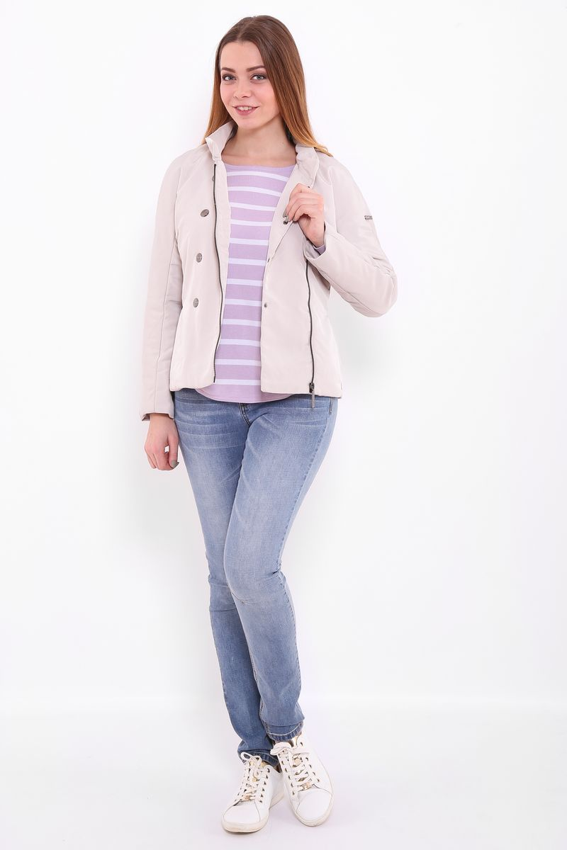 Куртка женская Finn Flare, цвет: светло-бежевый. B17-11002. Размер XL (50)B17-11002Куртка женская Finn Flare выполнена из полиэстера. Модель с воротником-стойкой и длинными рукавами застегивается на молнию.