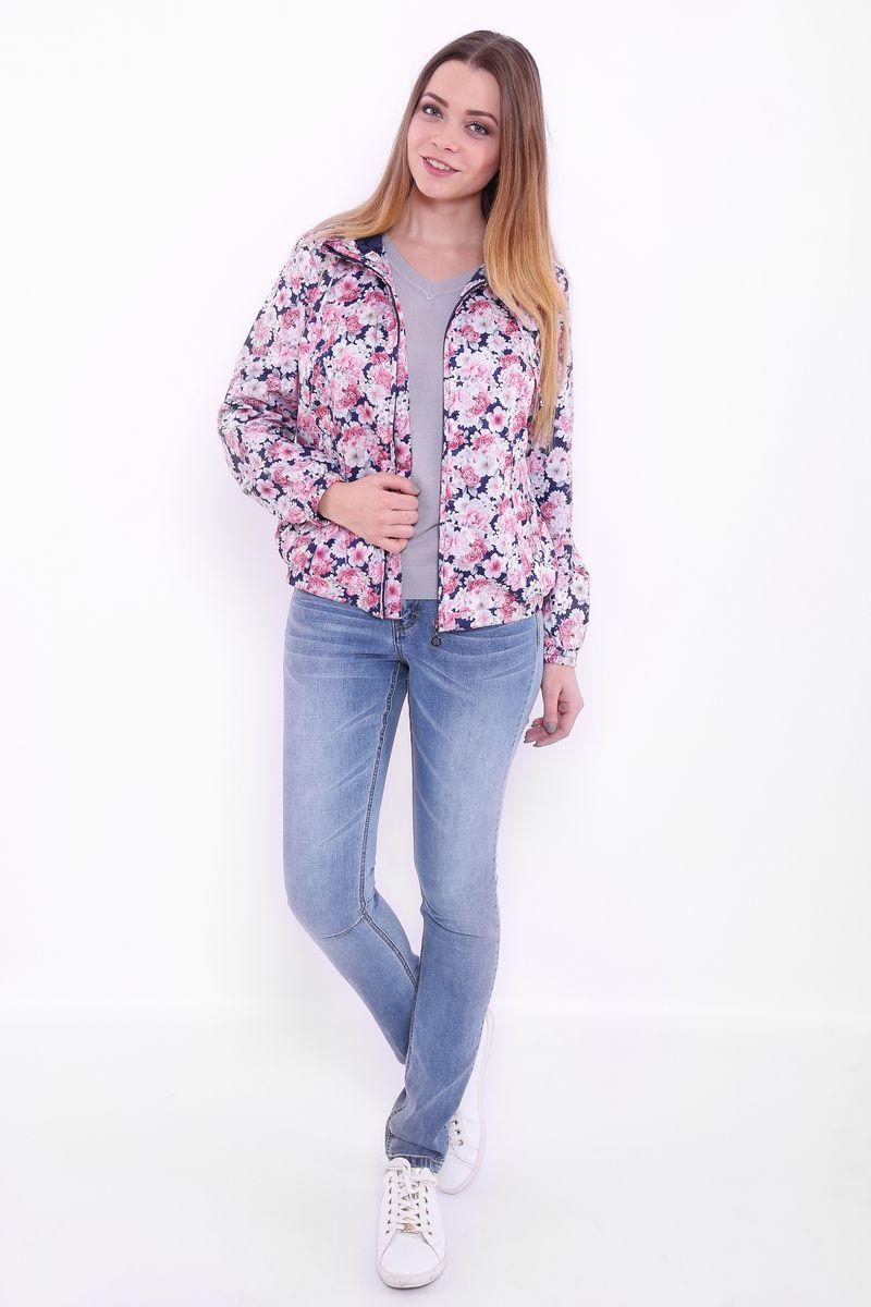 Куртка женская Finn Flare, цвет: темно-синий. B17-11013. Размер L (48)B17-11013Куртка женская Finn Flare выполнена из полиэстера. Модель с капюшоном застегивается на застежку-молнию и оформлена оригинальным принтом.