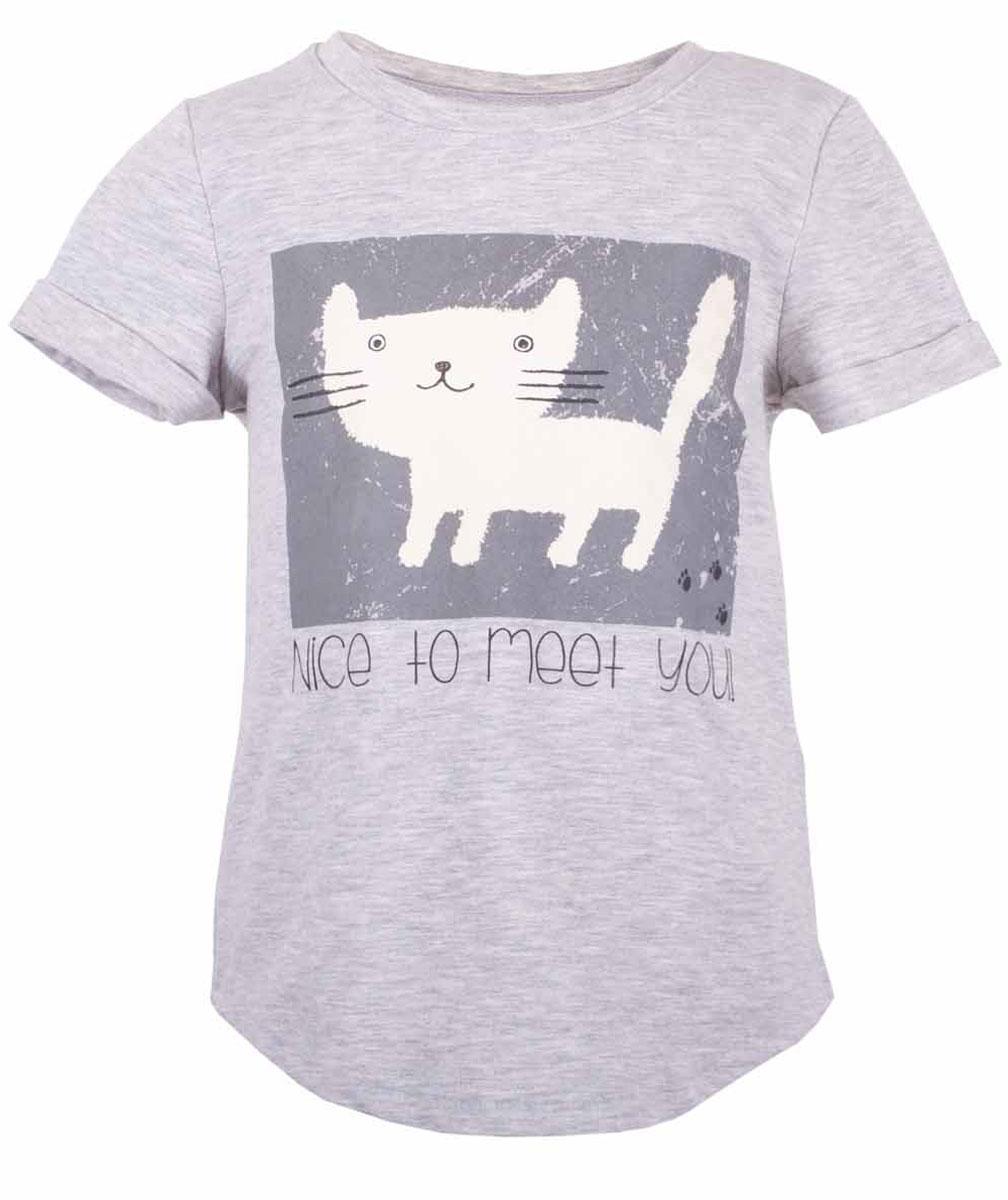 Футболка для девочки Button Blue Main, цвет: серый. 117BBGC12011900. Размер 98, 3 года117BBGC12011900Футболка - не только базовая вещь в гардеробе ребенка, но и залог хорошего летнего настроения. Если вы решили купить недорогую белую футболку для девочки, выберете модель футболки с оригинальным принтом, и ваш ребенок будет доволен.