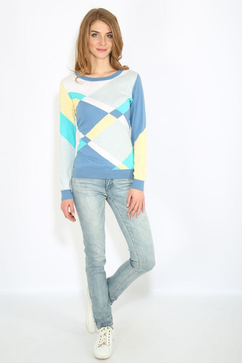 Джемпер женский Finn Flare, цвет: голубой. B17-11104. Размер XS (42)B17-11104Джемпер женский Finn Flare выполнен из натурального хлопка. Модель с круглым вырезом горловины и длинными рукавами.