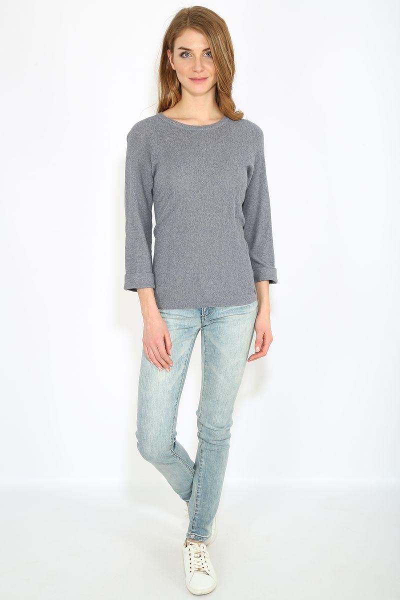 Джемпер женский Finn Flare, цвет: светло-серый. B17-11115. Размер L (48)B17-11115Джемпер женский Finn Flare выполнен из натурального хлопка. Модель с круглым вырезом горловины и длинными рукавами.