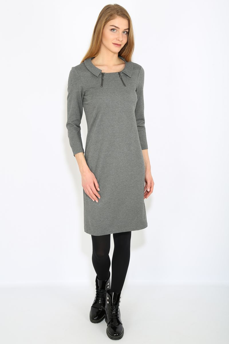 Платье Finn Flare, цвет: темно-серый. B17-12039. Размер XL (50)B17-12039Платье женское Finn Flare выполнена из вискозы, нейлона и эластана. Модель с круглым вырезом горловины и длинными рукавами.