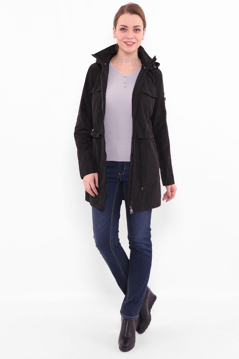 Куртка женская Finn Flare, цвет: черный. B17-12080. Размер M (46)B17-12080Куртка женская Finn Flare выполнена из полиэстера. Модель с воротником-стойкой и длинными рукавами застегивается на застежку-молнию.