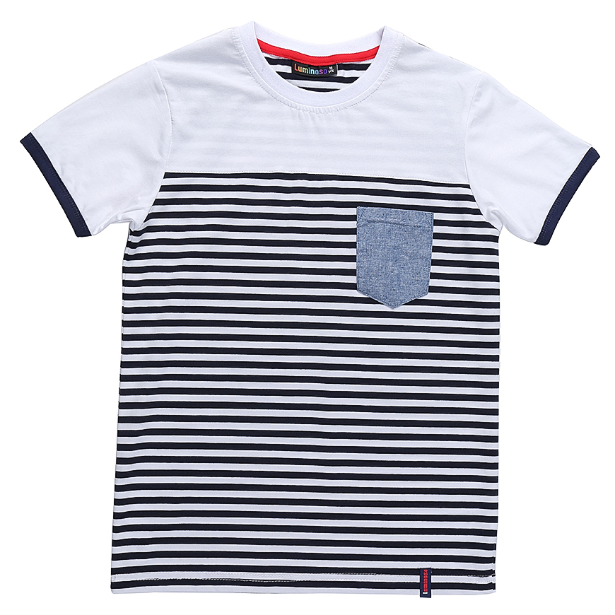 Футболка для мальчика Luminoso, цвет: белый. 717018. Размер 158717018Футболка из трикотажной ткани в полоску с коротким рукавом.