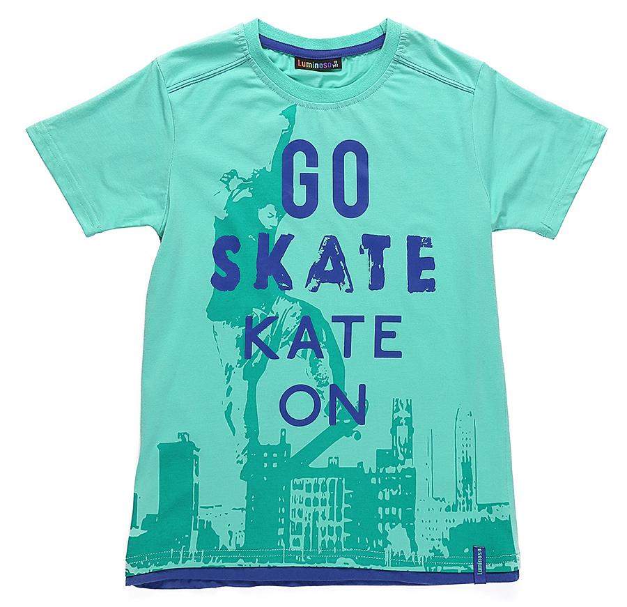 Футболка для мальчика Luminoso, цвет: синий, зеленый. 717038. Размер 134717038Стильная футболка из трикотажной ткани с коротким рукавом декорирована ярким принтом.