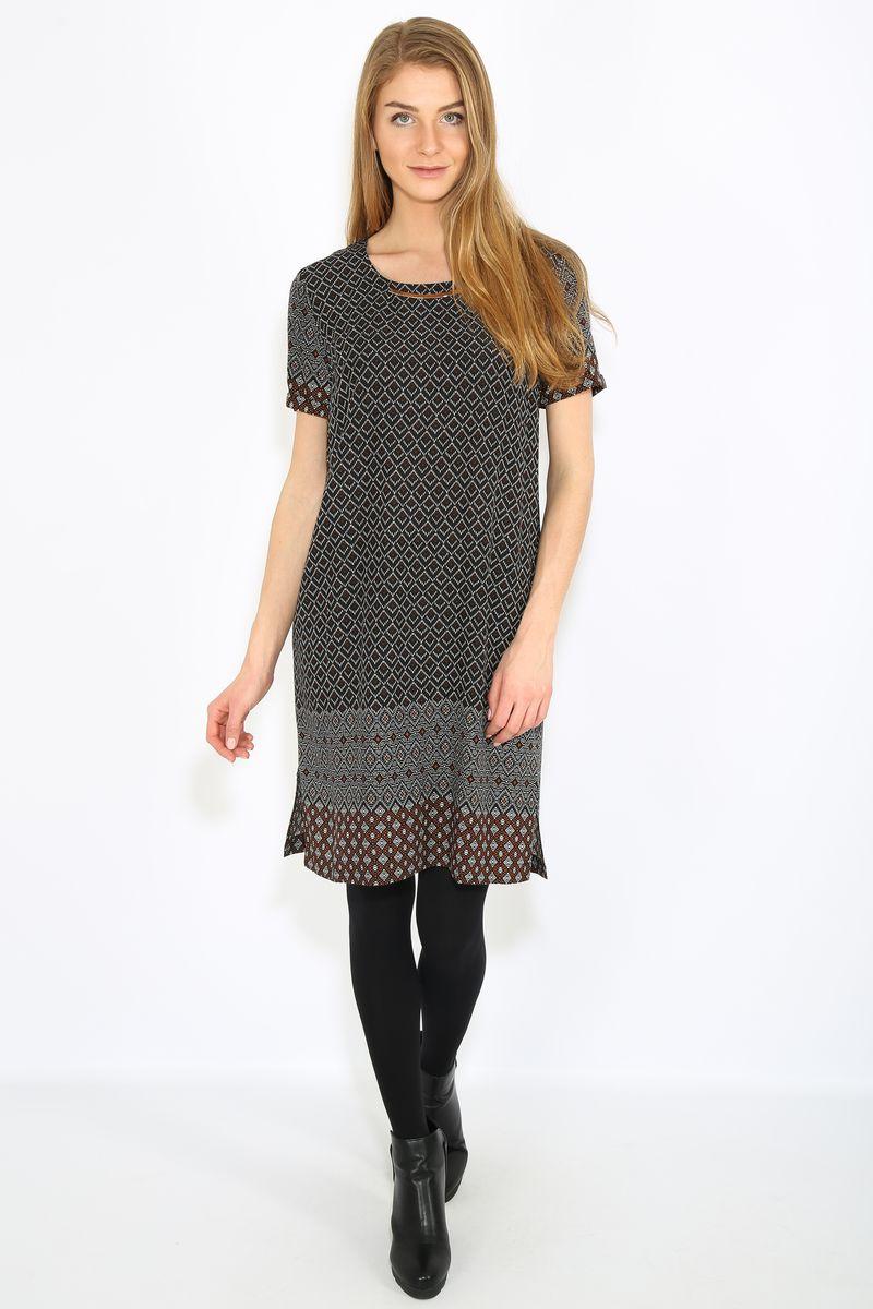 Платье Finn Flare, цвет: черный. B17-32019. Размер L (48)B17-32019Платье женское Finn Flare выполнена из хлопка. Модель с круглым вырезом горловины и короткими рукавами.