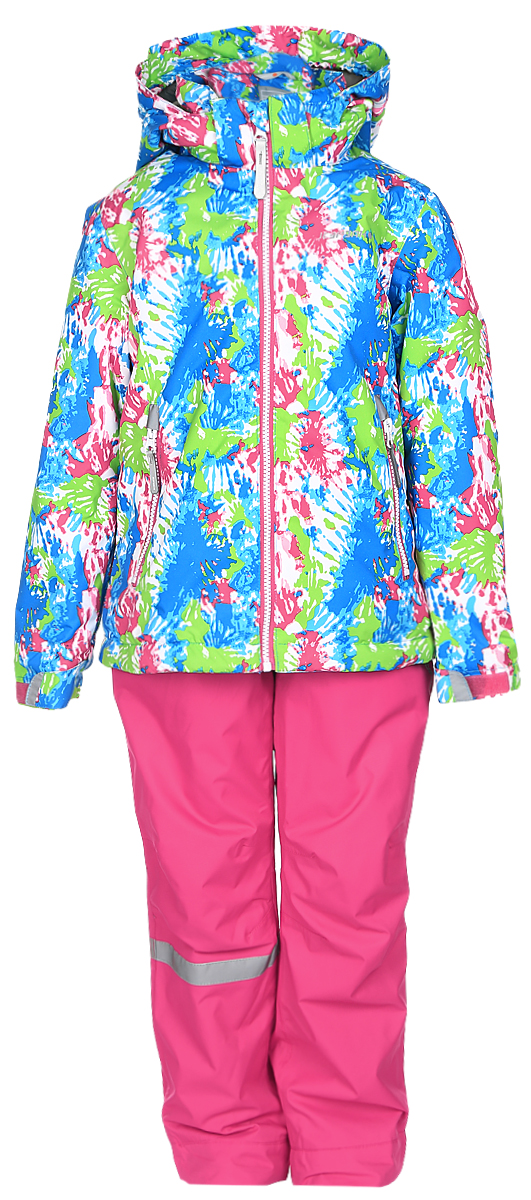 Комплект для девочки Icepeak: куртка, полукомбинезон, цвет: розовый, синий, зеленый. 752000IVT_312. Размер 98752000IVT_312Комплект верхней детской одежды Icepeak состоит из куртки и полукомбинезона. Куртка с капюшоном застегивается на пластиковую молнию. На рукавах предусмотрены манжеты. Спереди расположены два врезных кармана на молниях. Оформлено изделие оригинальным принтом. Брюки спереди застегиваются на пластиковую молнию и кнопку. Модель дополнена эластичными наплечными лямками, регулируемыми по длине. На талии предусмотрена широкая резинка. На комплекте предусмотрены светоотражающие элементы.