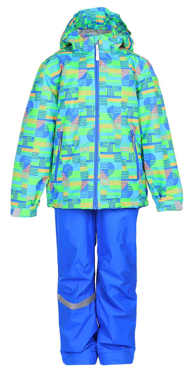 Комплект для мальчика Icepeak: куртка, полукомбинезон, цвет: голубой, зеленый, оранжевый. 752001642IV_882. Размер 122752001642IV_882Комплект верхней детской одежды Icepeak состоит из куртки и полукомбинезона. Куртка с капюшоном застегивается на пластиковую молнию. На рукавах предусмотрены манжеты. Спереди расположены два врезных кармана на молниях. Оформлено изделие оригинальным принтом. Брюки спереди застегиваются на пластиковую молнию и кнопку. Модель дополнена эластичными наплечными лямками, регулируемыми по длине. На талии предусмотрена широкая резинка. На комплекте предусмотрены светоотражающие элементы.