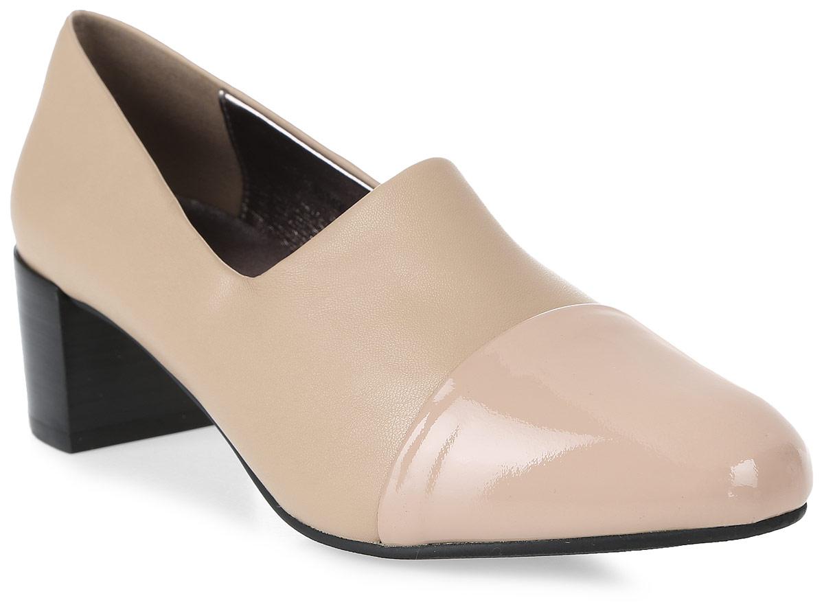 Туфли женские LK Collection, цвет: бежевый. X5149S-G211R-G478 PU. Размер 36X5149S-G211R-G478 PUУдобные туфли на невысоком квадратном каблуке выполнены из комбинации искусственной и натуральной кожи. Стелька выполнена из натуральной кожи.