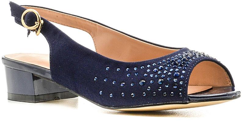 Босоножки женские Nobbaro, цвет: синий. 157-87. Размер 38157-87Стильные босоножки от Nobbaroзаймут достойное место среди вашей коллекции летней обуви. Модель выполнена из искусственной кожи и дополнена кристаллами на мысе. Открытый носок и задник обеспечивают дополнительную вентиляцию, позволяют ногам дышать. Ремешок с металлической пряжкой отвечает за надежную фиксацию модели на ноге. Длина ремешка регулируется за счет болта. Стелька из искусственной кожи гарантирует комфорт при ходьбе. Рифление на каблуке и на подошве защищает изделие от скольжения. Прелестные босоножки очаруют вас своим дизайном с первого взгляда.