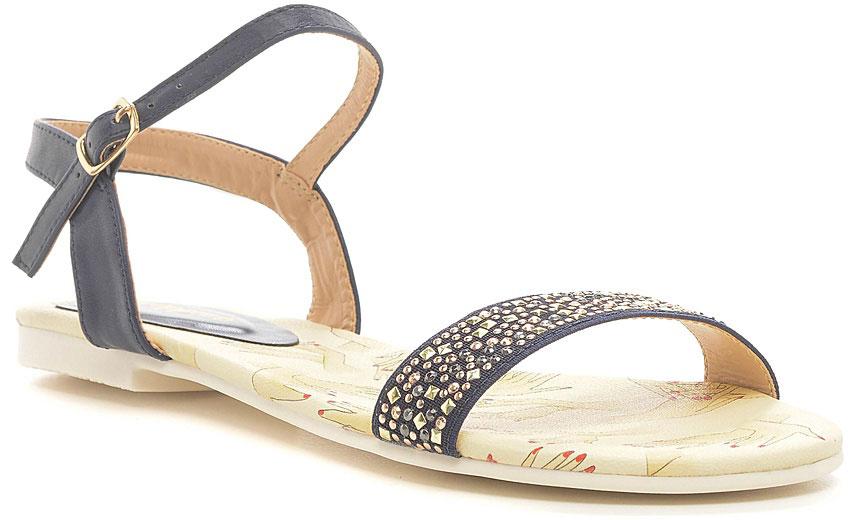 Босоножки женские Nobbaro, цвет: синий. 1119-56. Размер 381119-56Стильные босоножки от Nobbaroзаймут достойное место среди вашей коллекции летней обуви. Модель выполнена из искусственной кожи и дополнена на мысе разноцветными кристаллами. Ремешок с металлической пряжкой отвечает за надежную фиксацию модели на ноге. Длина ремешка регулируется за счет болта. Стелька из искусственной кожи, оформленная стильным рисунком, гарантирует комфорт при ходьбе. Рифление на каблуке и на подошве защищает изделие от скольжения. Прелестные босоножки очаруют вас своим дизайном с первого взгляда.