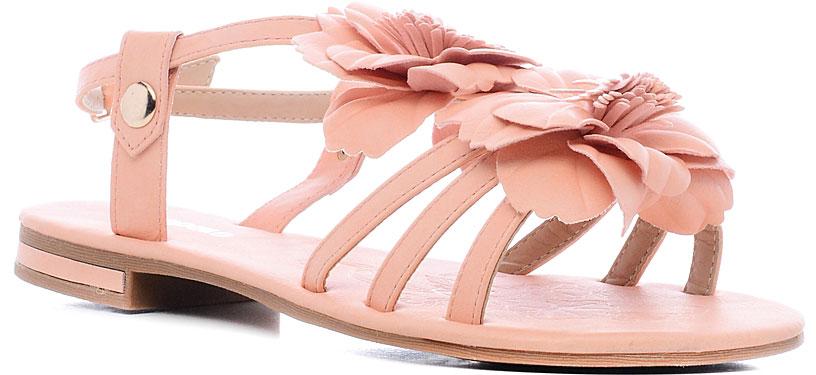 Босоножки женские Nobbaro, цвет: персиковый. 1119-43. Размер 401119-43Стильные босоножки от Nobbaro займут достойное место среди вашей коллекции летней обуви. Модель выполнена из искусственной кожи и оформлена поперечными ремешками с крупными цветами. Открытый носок и задник обеспечивают дополнительную вентиляцию, позволяют ногам дышать. Ремешок с металлической пряжкой отвечает за надежную фиксацию модели на ноге. Длина ремешка регулируется за счет болта. Стелька из искусственной кожи гарантирует комфорт при ходьбе. Средняя часть каблука декорирована по контуру золотистой пластиной. Рифление на каблуке и на подошве защищает изделие от скольжения. Прелестные босоножки очаруют вас своим дизайном с первого взгляда.